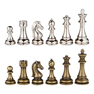 Neptune Silver and Bronze Metal Chess Pieces with 3.5 Inch King and Extra Queens, Pieces Only, No Board