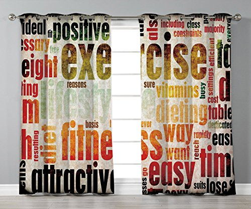 - Stylish Window Curtains,Fitness,Grungy Framework with Different Words Healthcare Concept Diet Endurance Exercising Decorative,Multicolor,2 Panel Set Window Drapes,for Living Room Bedroom Kitchen Cafe