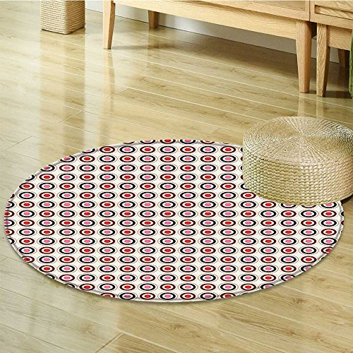 Elegance Scroll - Anti-Skid Area Rug Retro Nostalgic Elegance with Scrolls Swirled Lines Circle Inner Rounds Vivid Soft Area Rugs-Round 31