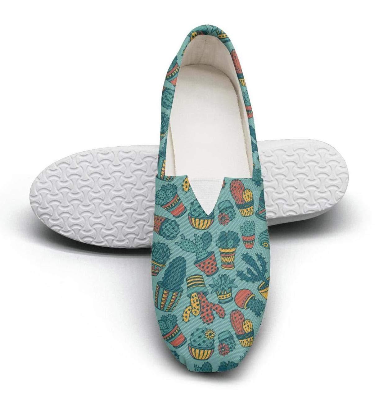 FGBLK Lace-Free Canvas Elegant Cactus Charm Women Sneakers Comfortable Flat Shoe Skates