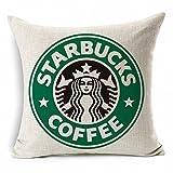 E-sunshine® Cotton Blend Linen Square Throw Pillow Cover Decorative Cushion Case Pillow Case 18 X 18 Inches / 45 X 45 cm, Starbucks Coffee (green)