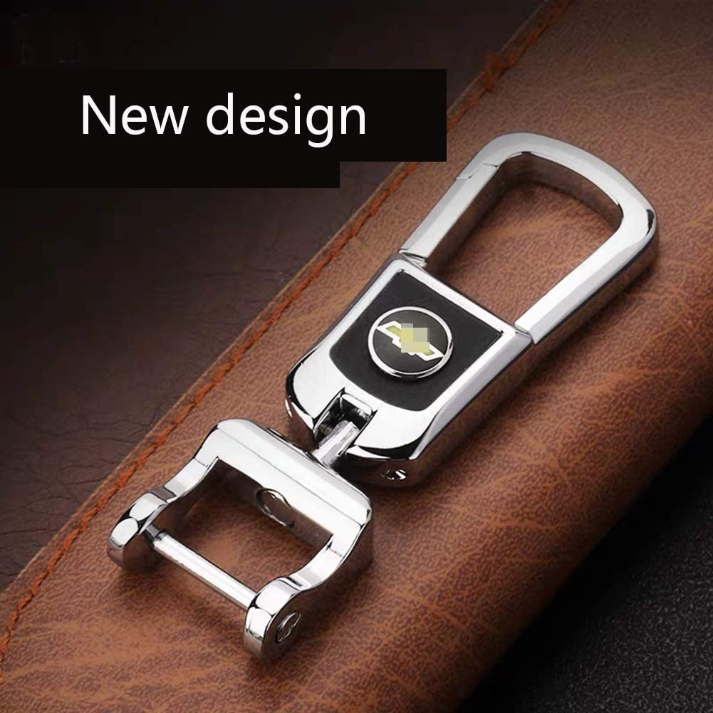 MAXMILO Genuine Leather Car Logo Ford Key Chain Stainless Steel Keychain for Ford Key Ring Accessories for Ford