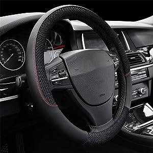 "Car Steering Wheel Cover, DC Microfiber Leather Anti-slip Universal 15""/38cm (BLACK)"
