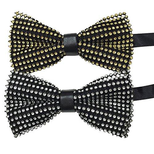 AINOW Mens Crystal Shining Luxury Pre-Tied Bow Tie Bowties