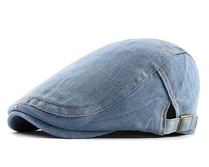 d4e3f52edbd0 Qunson Men's Classic Washed Denim Gatsby Cabbie Ivy Newsboy Cap Hat at Amazon  Men's Clothing store: