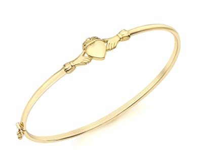 Carissima Gold 9ct Yellow Gold Claddagh Bangle AH6SaM67R