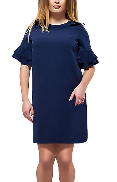 Vestidos De Fiesta Mujer Fashion Elegantes Color Sólido Tallas Grandes Vestidos Cortos Manga Corta Cuello Redondo
