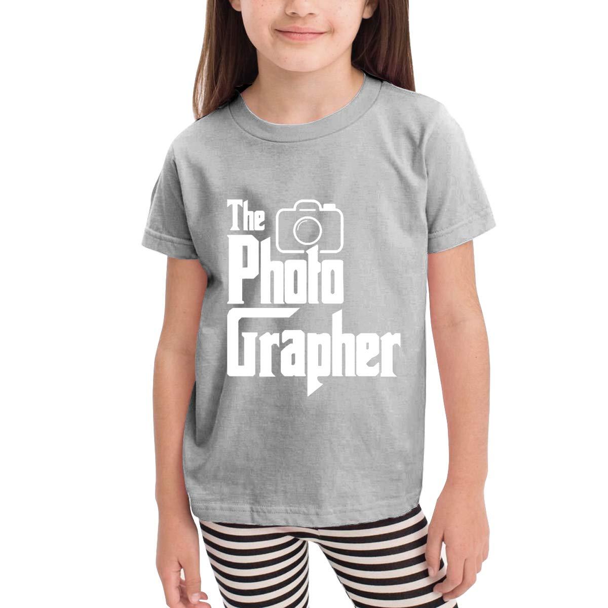 Kids T-Shirt Tops Black The Photographer Unisex Youths Short Sleeve T-Shirt