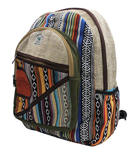 KayJayStyles Natural Handmade Large Multi Pocket Hemp Nepal Backpack (BKPK-4)