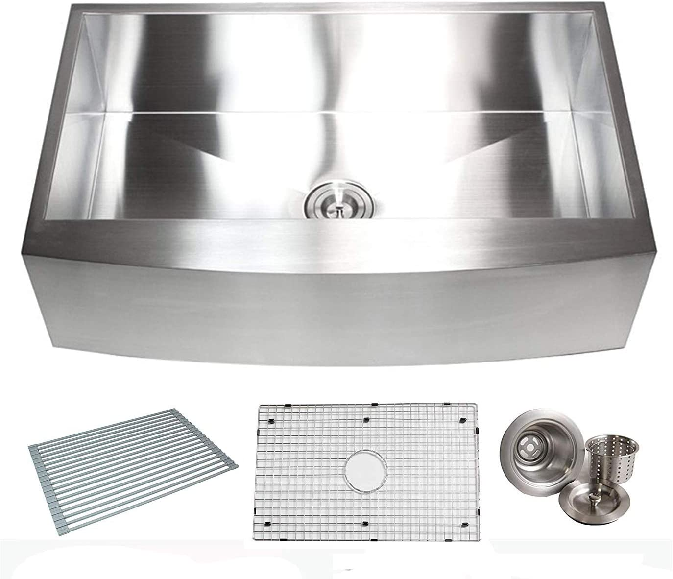 36 Inch Zero Radius Design 16 Gauge Single Bowl Stainless Steel Curve Farmhouse Apron Kitchen Sink Premium Package 36 INCH KKR-EFS3621