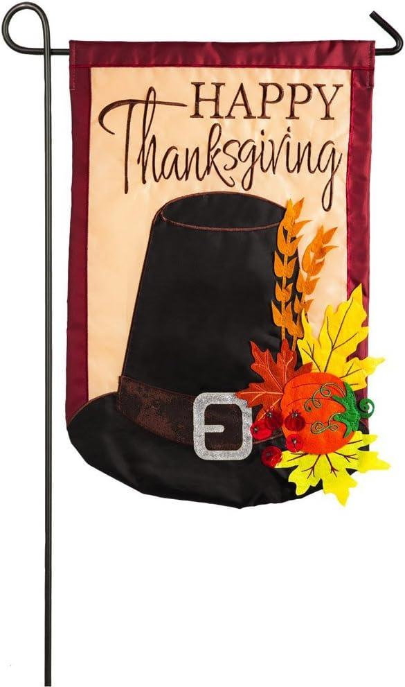 Evergreen Flag Happy Thanksgiving Harvest Pilgrim Hat Garden Flag, 12.5 x 18 inches