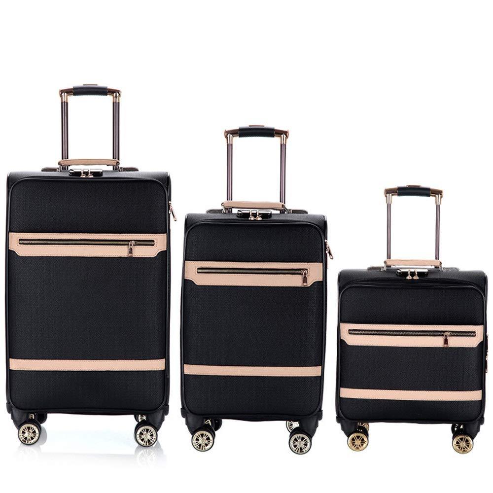 スーツケース 16インチ20インチ24インチインチ荷物3個セット拡張可能なアップライトキャリーオンソフトシェルスーツケース軽量360°サイレント多方向ホイール(旅行用飛行機のフライト用)およびチェックイントラベルギア (色 : ブラック, サイズ : 16in+20in+24in) B07VDNRL67 ブラック 16in+20in+24in