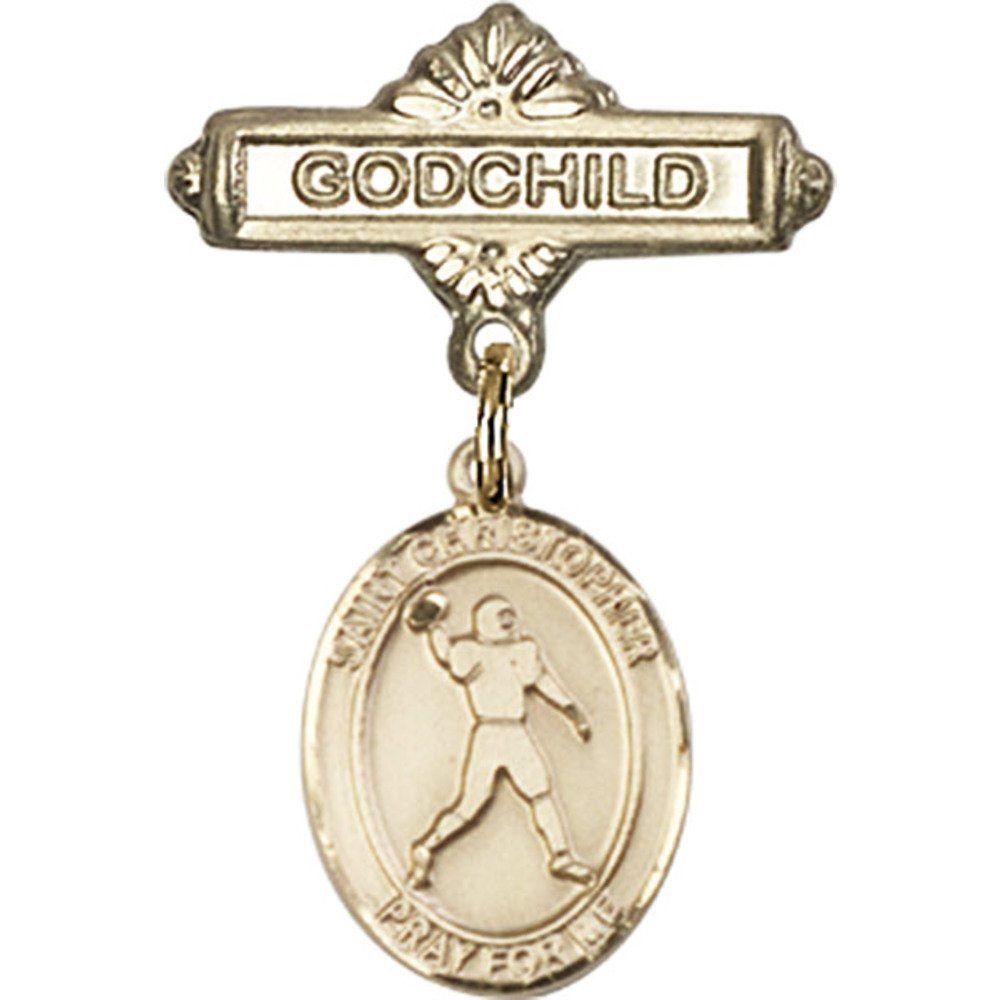 14kt Yellow Gold Baby Badge with St. Christopher/Football Charm and Godchild Badge Pin 1 X 5/8 inches 61Bz4hWVbUL._SL1000_