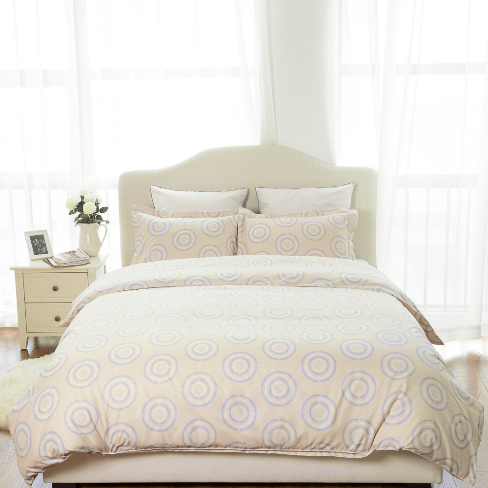Duvet Cover Set with Zipper Closure-Circle Khaki Printed Pattern,Twin (66\