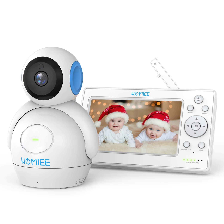 """HOMIEE Baby Monitor Video da 5"""" HD Schermo a Colori,Supporta Fino a 4 Telecamere, 360 Visione, Connessione a 300m, Audio Bidirezionale, Visione Notturna ecc product image"""