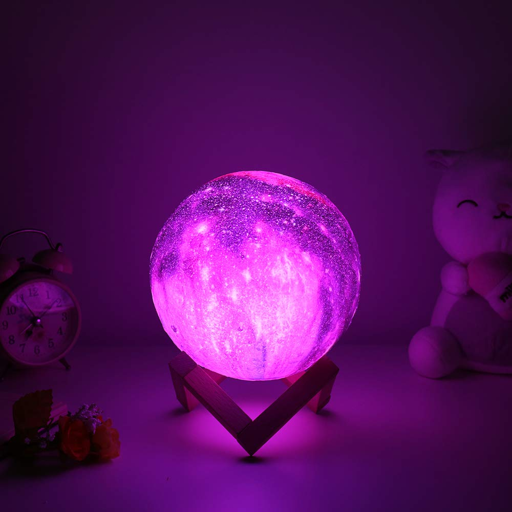 BRIGHTWORLD Moon Lamp, 3D Moon Light with Wooden Stand Rechargeable Moon Lamp Night Light Lamp 16 LED Colors Remote Touch Control Dimmable Decorative Moon Light for Baby Kids Birthday Party (5.9 inch) by BRIGHTWORLD (Image #4)