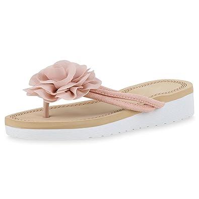 SCARPE VITA Damen Sandaletten Zehentrenner Plateau Sommer Schuhe Keilabsatz 166180 Rosa 38 wmHu5U