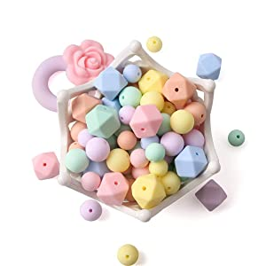 102pcs Silicone Beads Food Grade Mix-Color Nursing Accessories DIY Necklace/Bracelet Baby Pacifier Chain Jewelry Infant Gifts