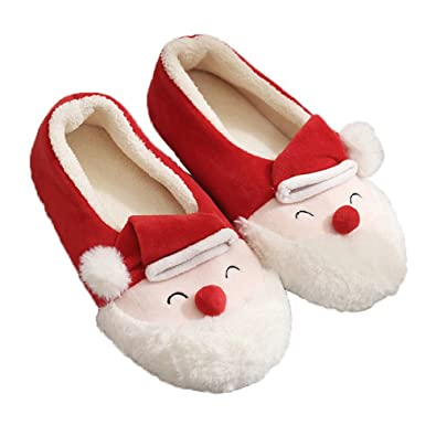 Amazon.com   ChicPro Cute Christmas Santa Claus Slippers Fuzzy ...
