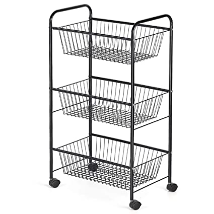 Amazoncom Nex 3 Tier Rolling Basket Stand Large Size Full Metal