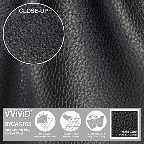 VViViD Bycast65 Black Matte Correct-Grain Faux Leather Marine Vinyl Fabric (1.5ft x 54'') by VViViD