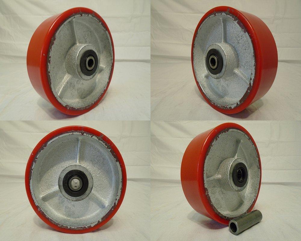 6'' X 2'' Heavy Duty Polyurethane Wheel on Steel Hub with Roller Bearings (4) & Free 1/2'' Bushing 1200 Lbs Each