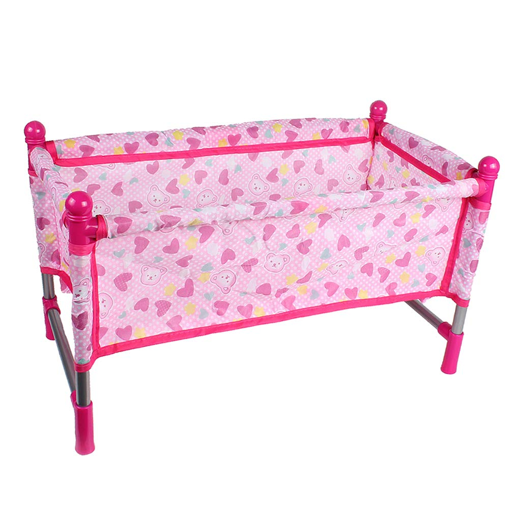 KESOTO Nursery Room Furniture Decor - ABS Baby Doll Crib Bed for 9-12inch Reborn Doll for Mellchan Doll Accessories