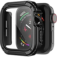 iGK Rugged Case Compatible for Apple Watch 44mm with Tempered Glass Screen Protector,Military Grade Hard TPU Bumper…
