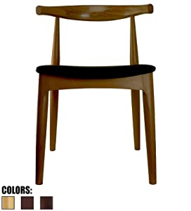 2xhome Walnut Dark Wood PU Leather Cushion Seat Elbow Chair Mid Century Modern Contemporary Dining Chairs Desk Armless No Arm Side Hans Wegner for Living Room Bedroom Kitchen with Open Back Kennedy