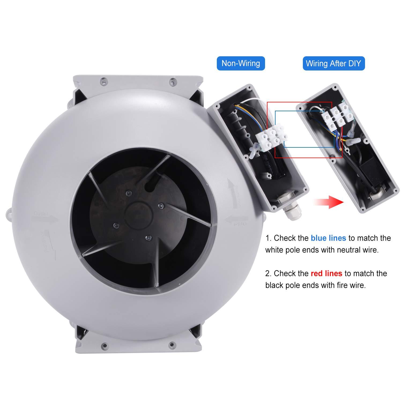 Ba/ño Extractor Silencioso 150mm Dormitorio Hon/&Guan Extractor de Aire Silencioso 150mm 533m/³//h Ventilador de Conducto Centr/ífugo para Oficina Hidrop/ónico