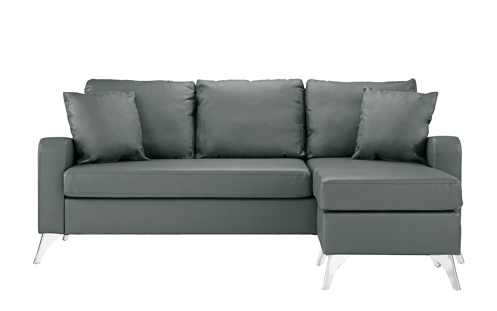 "Divano Roma Furniture Bonded Sectional, Light Grey - Bonded Leather small space reversible chaise sectional sofa Durable bonded leather upholstery with hardwood frame and chrome finish metal legs Measures: 76""W x 54""D x 34""H inches - sofas-couches, living-room-furniture, living-room - 61Bz9As90cL -"