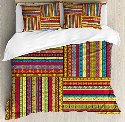 - Ambesonne African Duvet Cover Set Queen Size, Ethnic Borders Pattern in Old Fashioned Ancient Culture Theme Colorful Design Art Print, A Decorative 3 Piece Bedding Set with 2 Pillow Shams, Multicolor