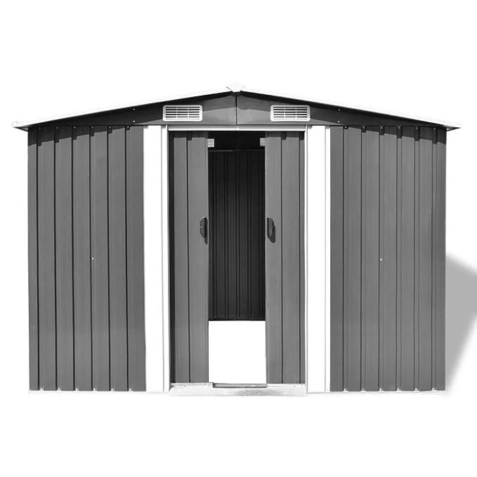 vidaXL Caseta de Almacenaje Jardín Metal Gris 257x205x178 Cobertizo de Patio: Amazon.es: Bricolaje y herramientas