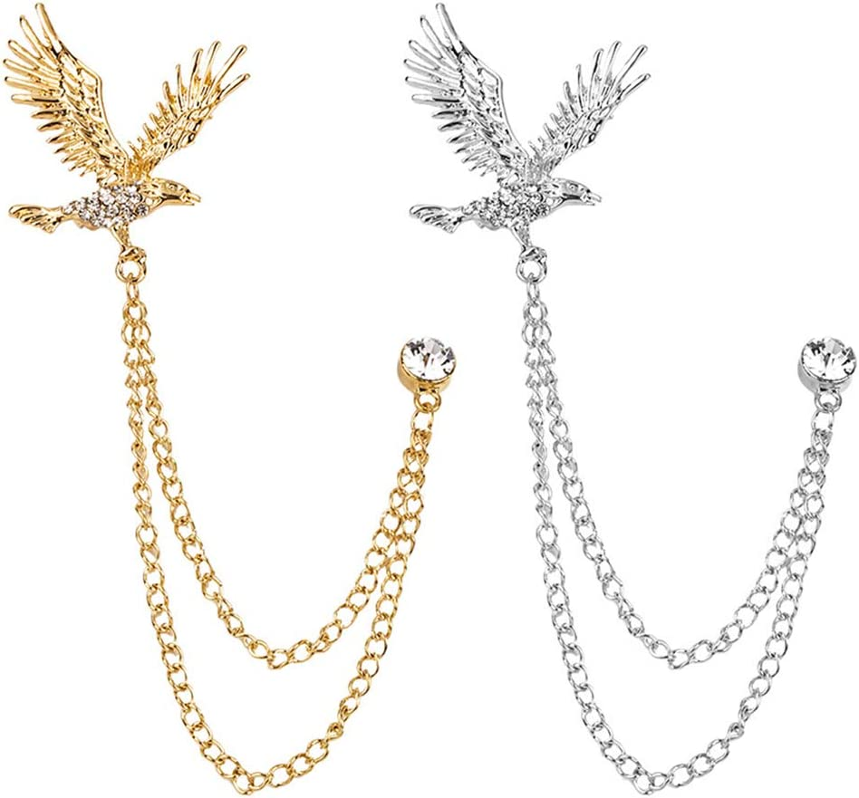 Huture 2 Packs Men's Eagle Brooch Lapel Pin Badge Hanging Chains Collar Brooches Pin for Career Suit Tuxedo of Shirts Tie Hat Scarf for Boyfriend Father Birthday Gold/Silver