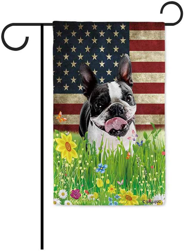 BAGEYOU Boston Terrier Garden Flag Lovely Pet Dog American US Flag Wildflowers Floral Grass Spring Summer Decorative Patriotic Banner for Outside 12.5x18 Inch Printed Double Sided