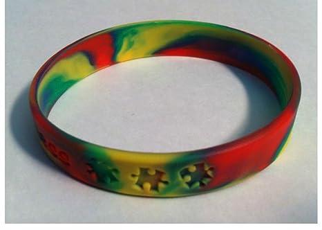 f9e7f749a07b Amazon.com: 5 Autism Awareness Multi Colored Puzzle Pieces Silicone ...