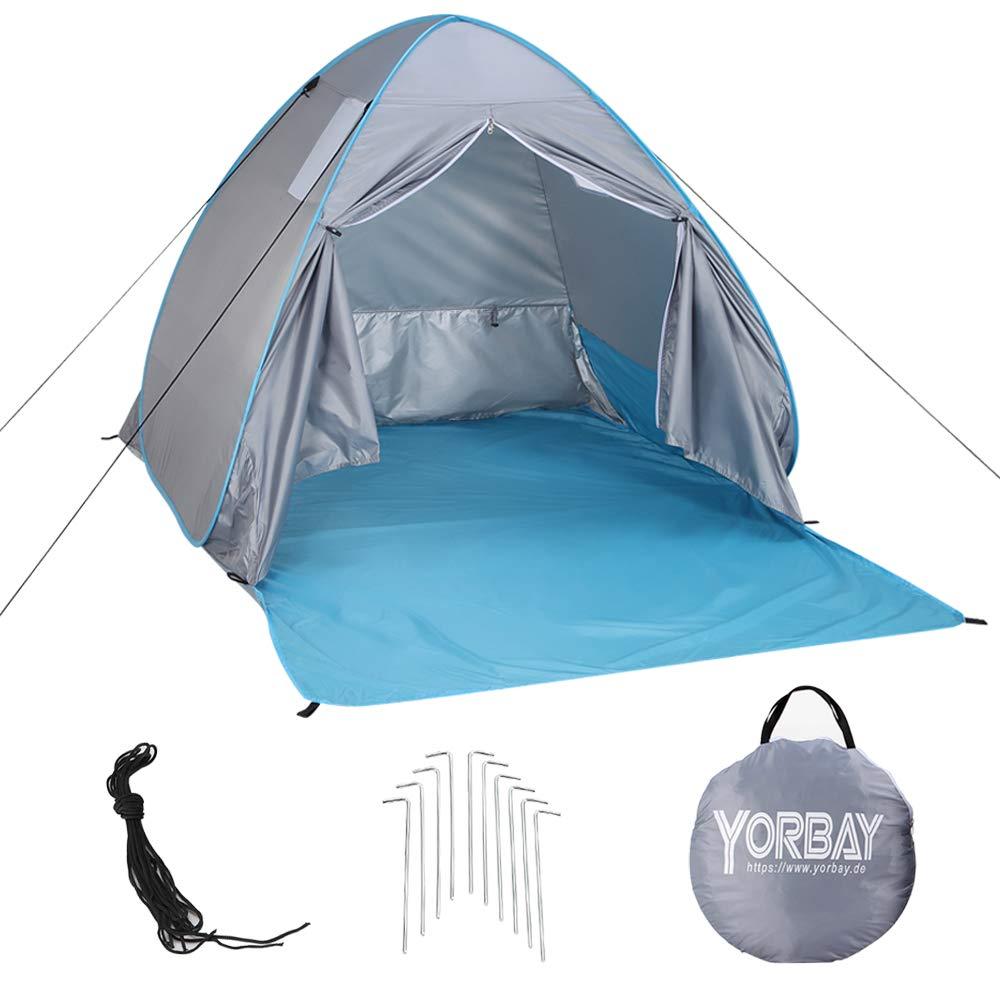 Yorbay Tente de Plage Pop Up Portable avec Fermeture à glissière Anti UV 2 ou 3 Personne Plage Abat-Jour Tente pour Plage Camping Voyage