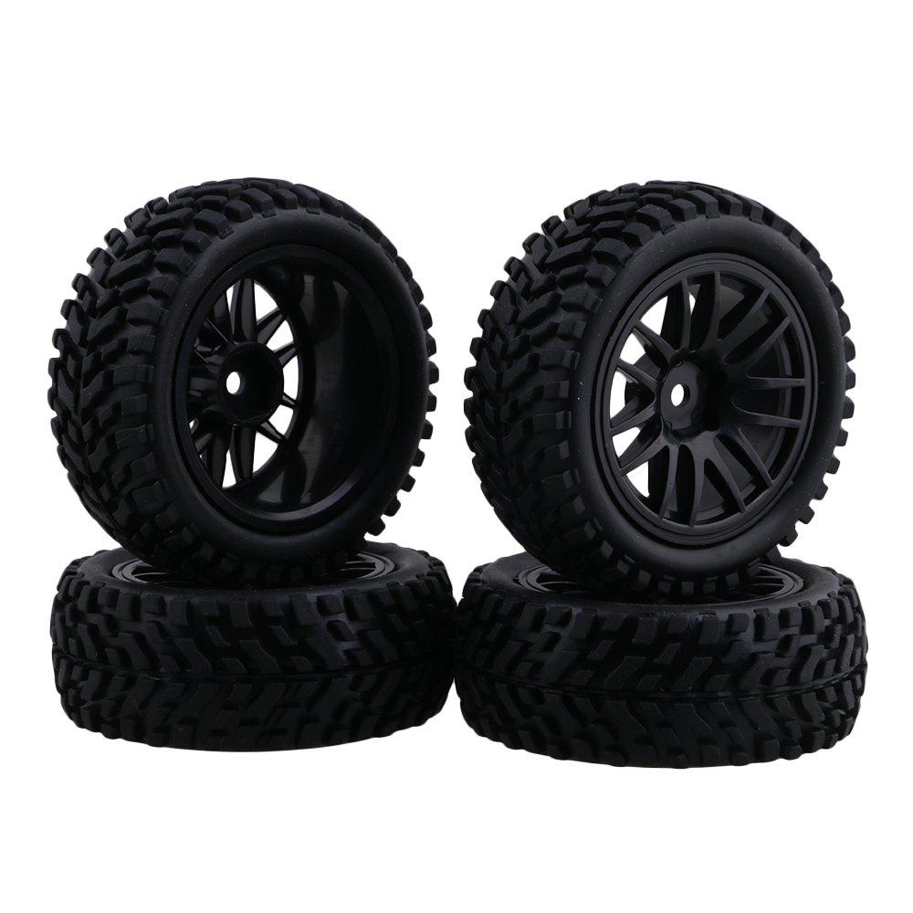 Neumáticos de neumáticos negros de goma del borde de la rueda de 1:10 para el coche del coche de la desviación del coche de carreras en línea Paquete de 4 Juguetes y juegos