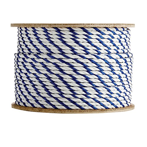 SGT KNOTS Twisted Polypropylene Pool Rope (3/8 inch) 3-Strand Polypro Cord - Lightweight Utility Rope - for Landlines, Safety Lines, Pool Lanes, Other Water-Bound Uses (600 feet - Blue & White)
