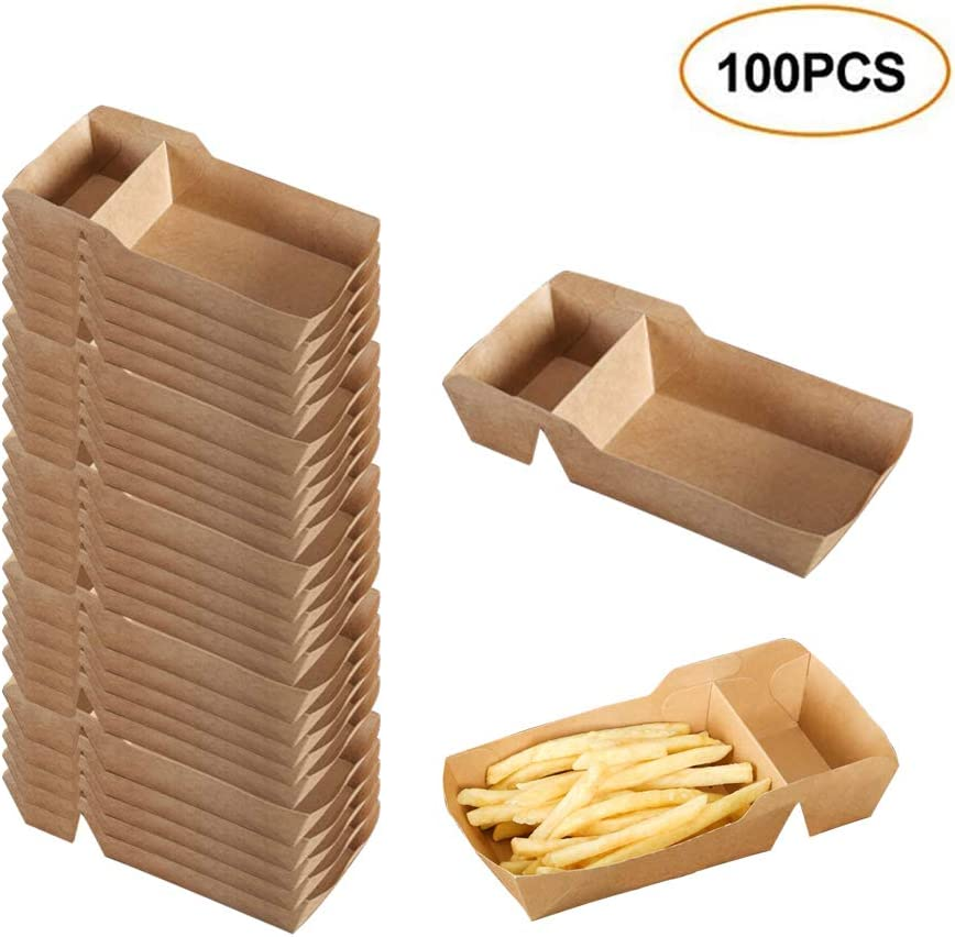 Leepro Food Tray Boats with Dip Pocket, Disposable Kraft Paper French Fries Box with Compartment Holder for Ketchup, Sauce, Food Serving Trays for Birthday, Party, Food Trucks, Restaurant (100)