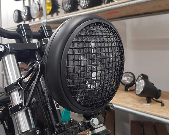 Leggero Nero Opaco 12v 66w per Cafe Racer /& Scrambler 7.7 LED Proiettore Faro con Maglia Griglia