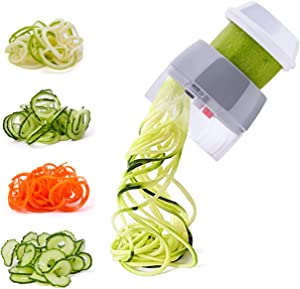 Spiralizer Handheld Vegetable Slicer Nurch 4 in 1 Veggie Spiral Cutter Zucchini Noodle Maker Spaghetti Maker Spiral Slicer Great for Salad