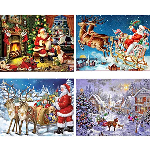 Topus 4 Pack 5D DIY Diamond Painting Kits Santa Claus Full Drill Rhinestone Embroidery Cross Stitch Painting for Christmas Home Decor