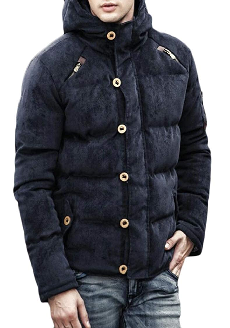 XQS Mens Hoodie Corduroy Thick Padded Coat Down Puffer Jacket Outwear
