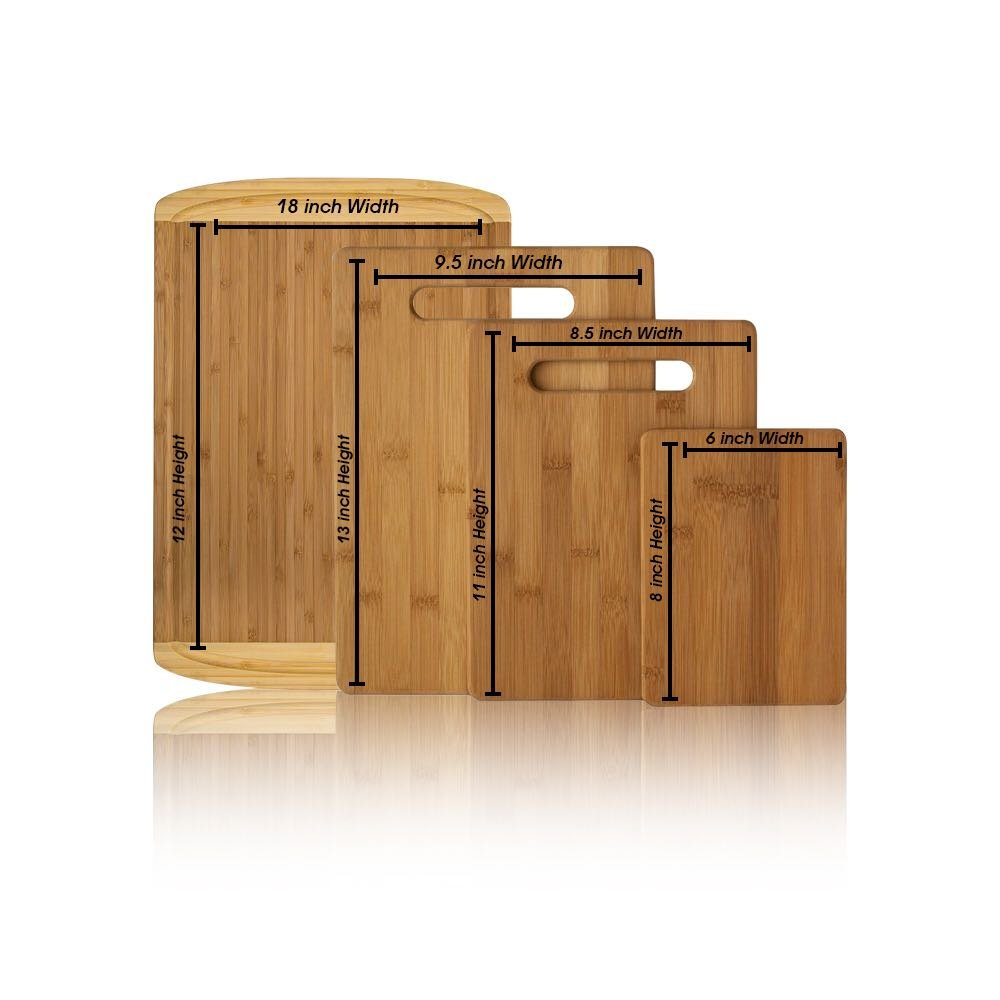 Premium Bamboo Cutting Board Set of 4 - Eco-Friendly Wood Chopping Boards with Juice Groove for Food Prep, Meat, Vegetables, Fruits, Crackers & Cheese - 100% Natural Bamboo Craftsmanship. by: Bambusi by Bambüsi (Image #2)