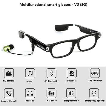 RENYAYA Gafas Inteligentes cámara de vídeo Bluetooth Auricular 4,1 Manos Libres teléfono de Llamada Sync GPS Prompt música Alarma de sueño para iOS ...