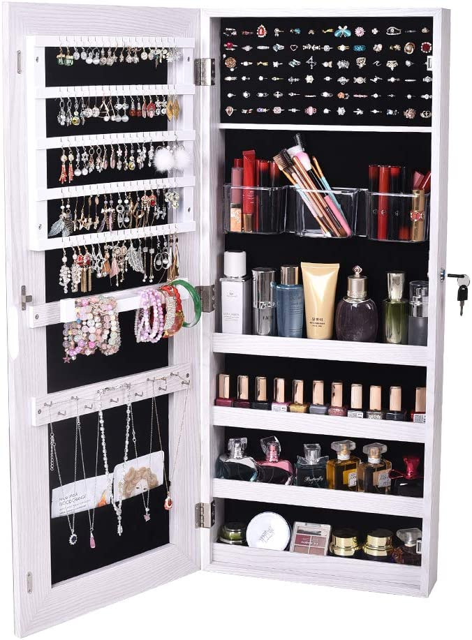 Gharpbik Fitting Mirror Cabinet with Lock Jewelry Armoire Wall Hanging Door Mirror Organizer