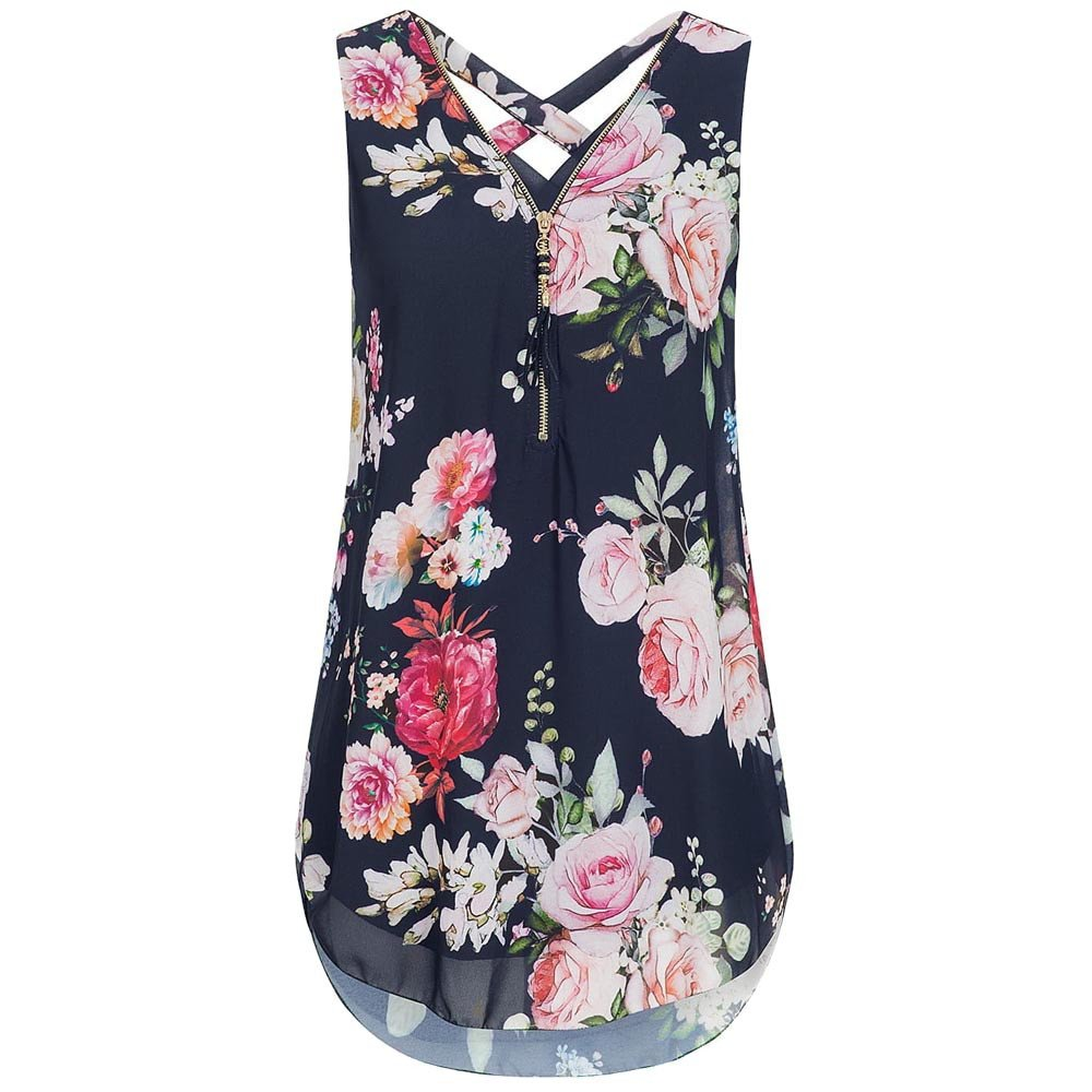 Dunacifa Women Summer V-Neck Tank Tops Loose Flowers Chiffon Sleeveless Shirts Casual Zipper Hem Vest Blouse