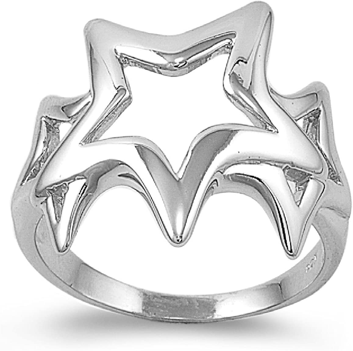 CloseoutWarehouse Sterling Silver Stars of Hope Ring (Sizes 4-15)