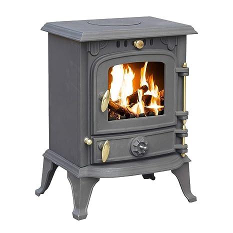 Royal Fire - Estufa de leña, hierro fundido, 5,5 kW, admite distintos tipos de combustible